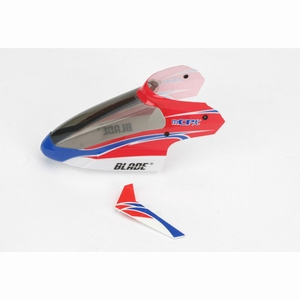 Complete Red Canopy with Vertical Fin:mCPX - BLH3518