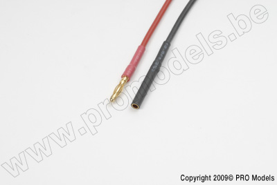 2.0mm goudstekker, Man. + Vrouw., silicone kabel 20AWG, 10cm