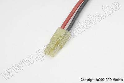 Mini Tamiya stekker, Man., silicone kabel 14AWG, 10cm (1st)