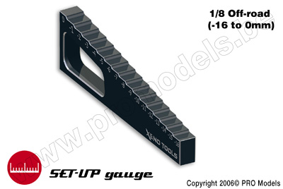 Meetlat voor chassis 1/8 buggy (-16mm to 0mm)