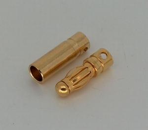 Goudplug 4.0mm dia. kort (1x male + 1x Female)